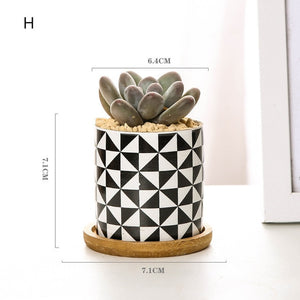 Ceramic Black White Flower Pot Bonsai Small Pots for Flowers Succulent Planter Garden Balcony Decoration FlowerPot
