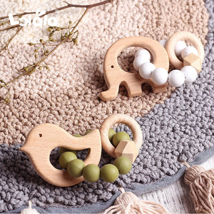 Baby Nursing Bracelets Natural Beech Wooden Teether Silicone Beads Teething Cartoon Baby Teether Bracelets Nursing Toys Gift