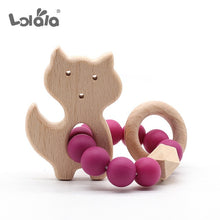 Load image into Gallery viewer, Baby Nursing Bracelets Natural Beech Wooden Teether Silicone Beads Teething Cartoon Baby Teether Bracelets Nursing Toys Gift