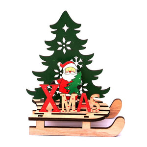 2020 New Year Natural Xmas Elk Wood Craft Christmas Tree Ornament Christmas Decoration For Home Wooden Pendant Navidad Gifts Hot