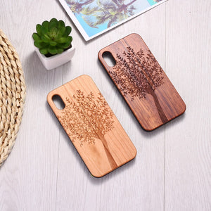 Natural Tree Plants Art Engraved Wood Phone Case Coque Funda For iPhone 6 6S 6Plus 7 7Plus 8 8Plus XR X XS Max 11 Pro Max