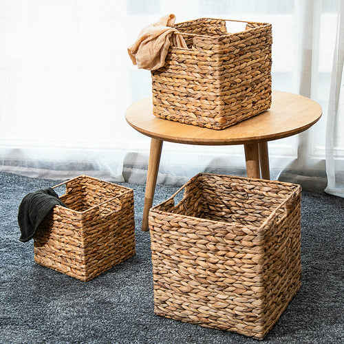 Natural Straw Square Desktop storage basket Iron Wire Handles Decor Seagrass Woven Wicker Basket Organizing Shelves mx10241409