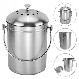 Compost Bin Recyclable Trash Can Water Barrel Stainless Steel Compost Tank Grabge Storage Box Home Kitchen Organizer
