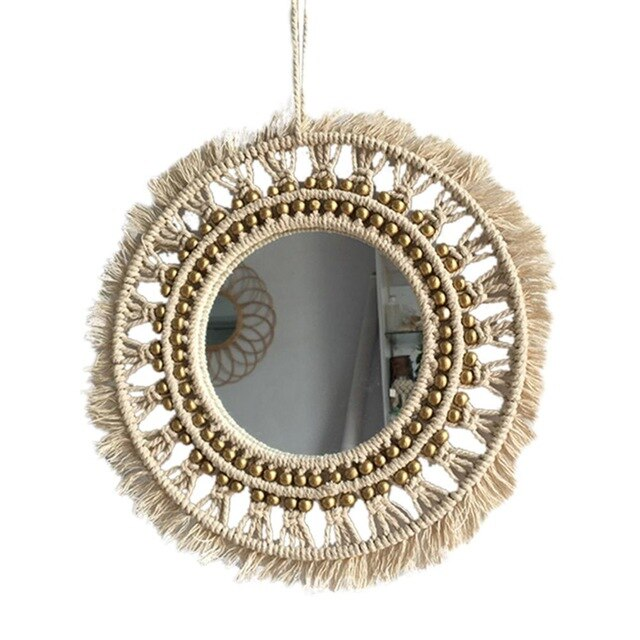 Hanging Wall Mirror Boho Geometric Decorative MirrorMacrame Wall for Home Livingroom Bedroom Dorm Room Decoration