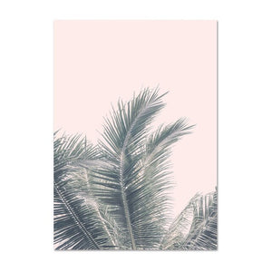 Modern Tropical Decor Blush Pink Wall Art Palm Leaf Canvas Painting Ocean Beach Coastal Landscape Wall Pictures for Living Room
