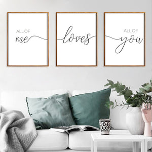 All of Me Loves All of You Nordic Minimalist Black and White English Decoration Canvas Painting Living Room Hanging Painting