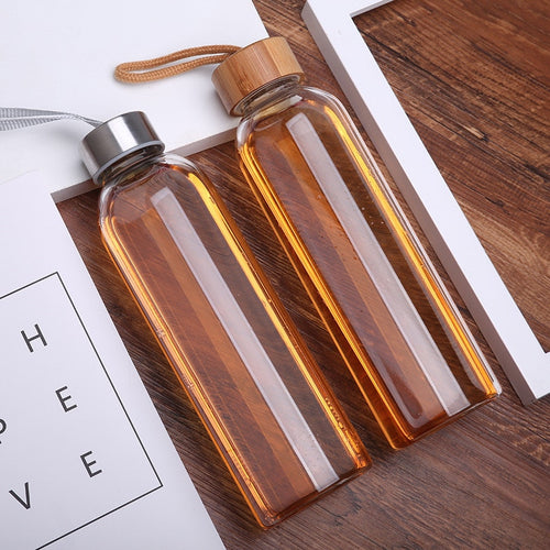 550ml Tour Drinkware Portable Sport Glass Fruit Tea Bottle Outdoors Glass Water Bottle With Rope Direct Drinking