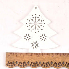 Load image into Gallery viewer, White DIY Wood Chip Christmas Tree Hanging Ornaments Pendant Kids Gifts Snowflake Tree Xmas Ornaments Decorations 5pcs