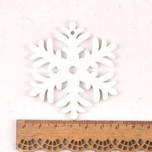 White DIY Wood Chip Christmas Tree Hanging Ornaments Pendant Kids Gifts Snowflake Tree Xmas Ornaments Decorations 5pcs