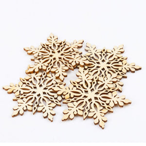 Natural Wooden Snowflake Pendant Craft Scrapbooking For Decoration Christmas Tree Handmade Sewing Home 80mm 5pcs