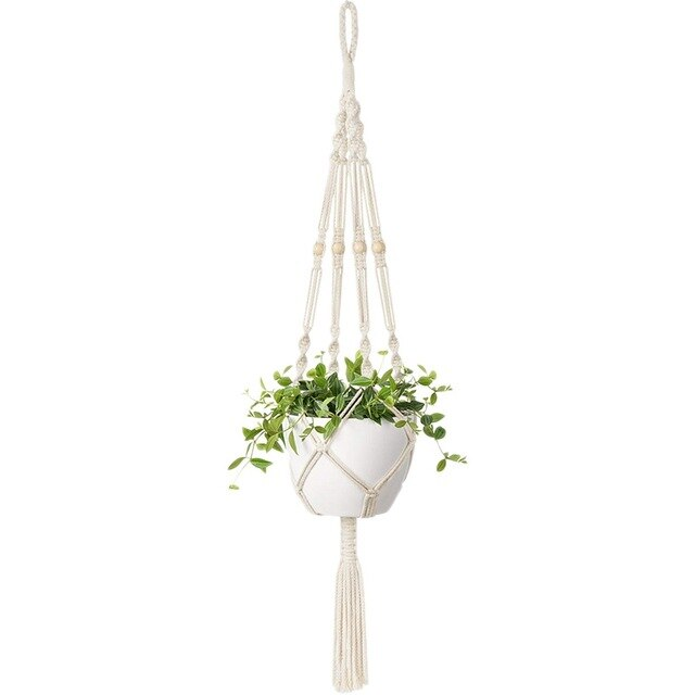 Macrame Plant Hangers Indoor Outdoor Hanging Planter Basket Cotton Rope With Beads 4 Legs 90Cm