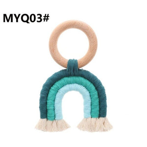 Organic Macrame Teether Boho Teething Ring Baby Sensory Toy Natural Cotton Teething Toy Gender Neutral Baby Toy