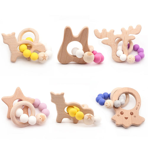 Lovely Cartoon Wooden Teether Pure Natural  baby toys 0-12 months Animal Shaped Baby Teething Nursing Beech Teether Baby Toys