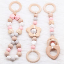 Load image into Gallery viewer, Baby Rattle Toys 0-12 months Wooden Rattle Ring Natural Wood Silicone Beads Play Gym Toy Stroller Hanging Toys Newborn Gift