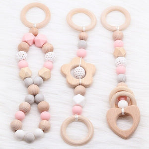 Baby Rattle Toys 0-12 months Wooden Rattle Ring Natural Wood Silicone Beads Play Gym Toy Stroller Hanging Toys Newborn Gift