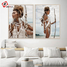 Load image into Gallery viewer, Beauty Art Women Portrait Canvas Painting Boho American Girl Feather Hunter Posters Bohemia Wall Pictures Modern Home Wall Decor
