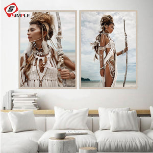 Beauty Art Women Portrait Canvas Painting Boho American Girl Feather Hunter Posters Bohemia Wall Pictures Modern Home Wall Decor