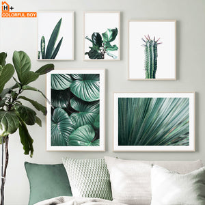 Cactus Monstera Tropical Plant Leaves Nordic Posters And Prints Wall Art Canvas Painting Print Wall Pictures For Living Room Bar
