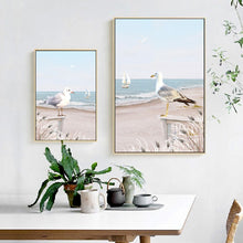 Load image into Gallery viewer, Nordic Posters And Prints Beach Scenery Seagull Sailboat Canvas Painting Room Decor Blue Ocean Poster Abstract Art Wall Picture
