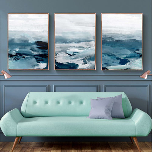 Nordic Poster Minimalist Abstract Ocean Landscape Wall Art Canvas Painting Decorative Pictures for Living Room Home Decor