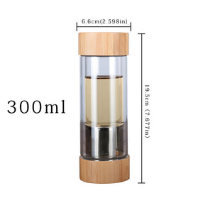 450ml Portable Tea Bottle Glass Bottle Water Bottle Filter Filter Borosilicate Double Wall Drink Bamboo Cover Car Drink