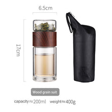 Load image into Gallery viewer, Tea Bottle Glass Bottled Water Bottle Infuser With Filter Strainer Borosilica Double Wall Drink Wood grain 200ml Car Drinkware