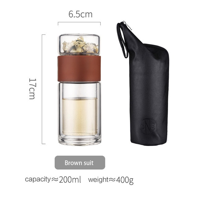 Tea Bottle Glass Bottled Water Bottle Infuser With Filter Strainer Borosilica Double Wall Drink Wood grain 200ml Car Drinkware