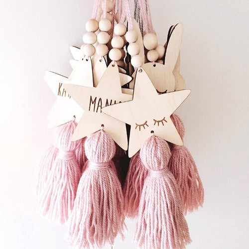 Wooden Beads Tassel Pendant Kids Room Decoration Nordic Style Cute Star Cat Shape Wall Hanging Ornament for Photography ZQ895655