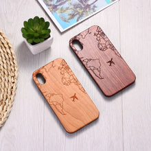 Load image into Gallery viewer, Passport Flight Travel World Map Engraved Wood Phone Case Funda For iPhone 6 6S 6Plus 7 7Plus 8 8Plus XR X XS Max 11 Pro Max