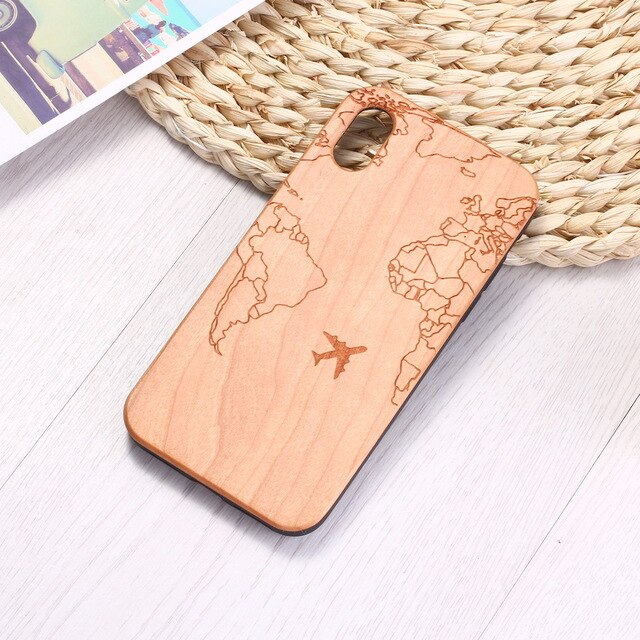 Passport Flight Travel World Map Engraved Wood Phone Case Funda For iPhone 6 6S 6Plus 7 7Plus 8 8Plus XR X XS Max 11 Pro Max