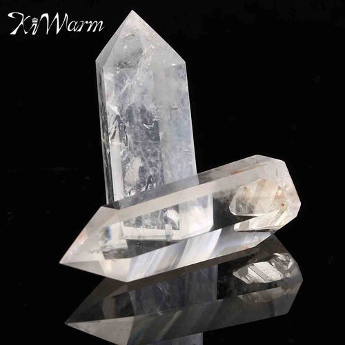 KiWarm 2Pcs Natural Clear Crystal Quartz Wand Point Healing Stones for Aquarium DIY Crafts Making Ornaments Home Decor Gift