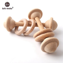 Load image into Gallery viewer, Let's make 5pcs BPA Free Natural Beech Wooden Teething Rings Baby Toys Tiny Rod Baby Shower Gift Montessori Play Gym Rattles