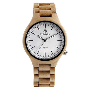 Men's Watches Full Wood Bamboo Watch Bamboo Wristwatch Bracelet-White