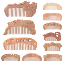 Load image into Gallery viewer, 1PC Natural Peach Wood Healthy No-static Massage Hair Wooden Comb Health Care New Design Comb