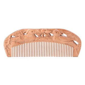 1PC Natural Peach Wood Healthy No-static Massage Hair Wooden Comb Health Care New Design Comb