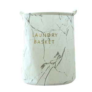 Nordic Foldable Laundry Basket Cartoon Marble Printed Folding Dirty Clothes Storage Bag Barrel Drop Shipping