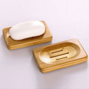 Fashionable Modern Natural Bamboo Wood Bathroom Shower Soap Tray Useful Storage Holder Plate Rack With Hole Durable