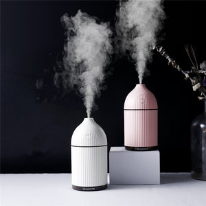 300ML White Aromatherapy Diffuser USB Ultrasonic Air Humidifier Mist Maker Aroma Essential Oil Diffuser for Home with LED Light