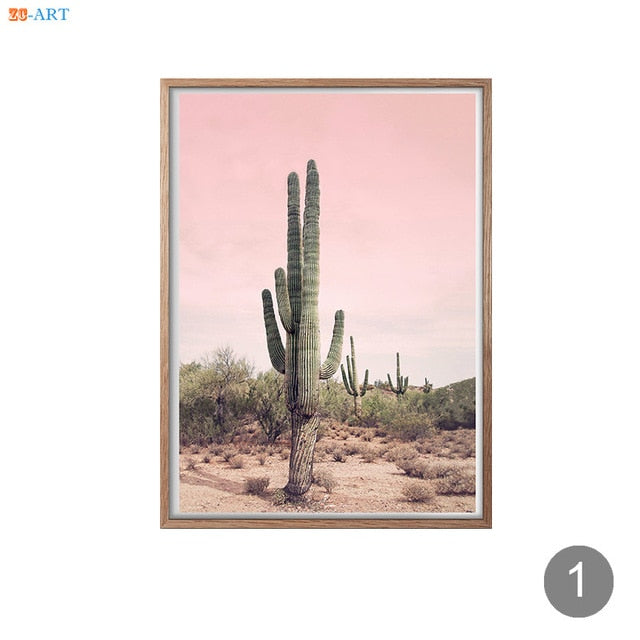 Joshua Tree Cactus Poster Print California Desert Canvas Painting Wall Art Pictures Modern Boho Minimalist Art Home Decor