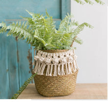 Load image into Gallery viewer, Seagrass white basket for decoration laundry basket  woven basket  gift basket handmade tassel Vase
