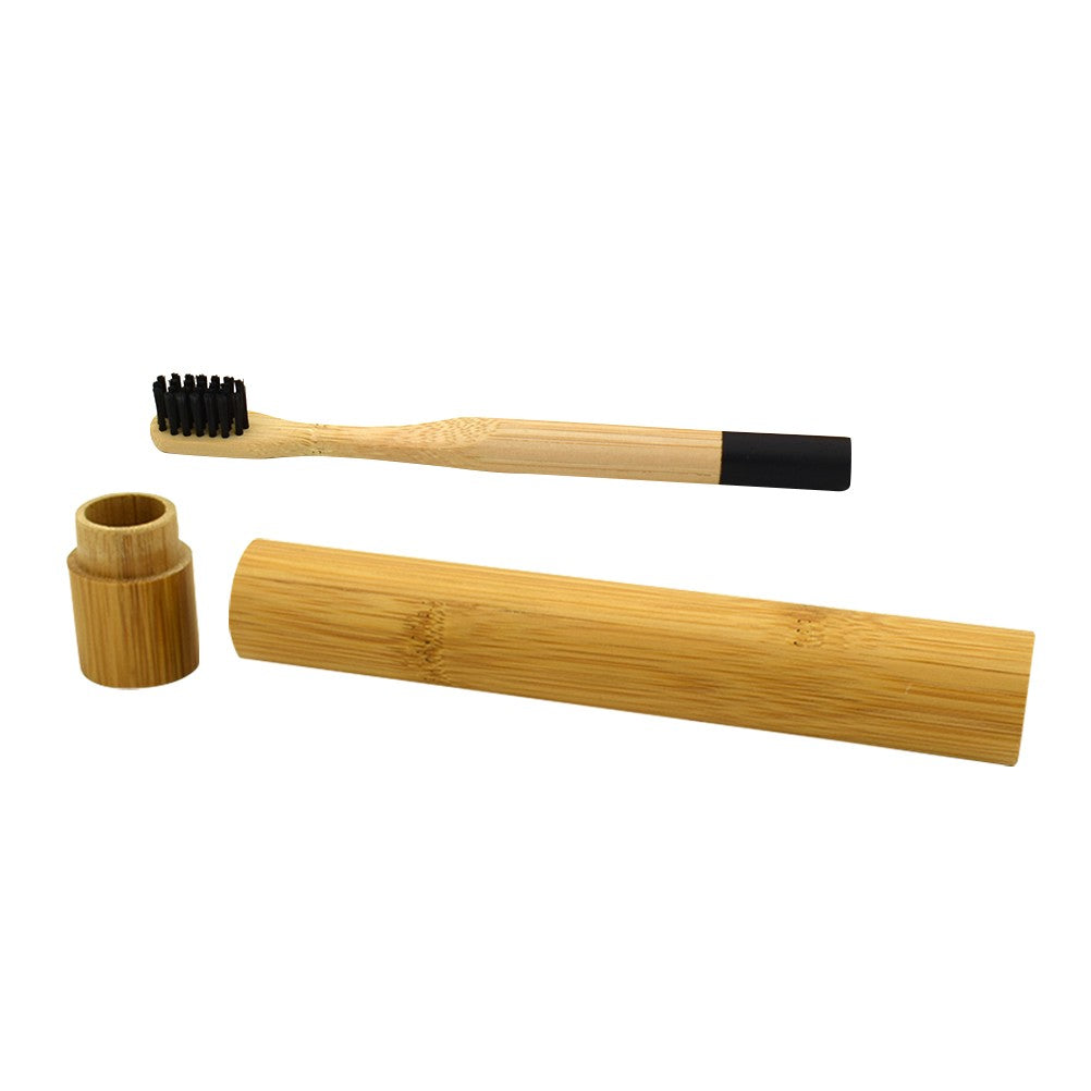 Natural Bamboo Toothbrush Biodegradable Wooden Eco-friendly Toothbrush with Bamboo Storage Tube