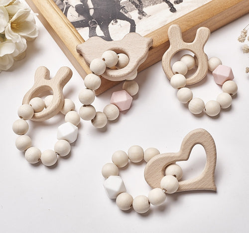 Cartoon Animals Shape Wooden Beads Garland INS Nordic Style Wall Hanging Pendant Ornaments  Kids Room Decor Nursery Tent Props