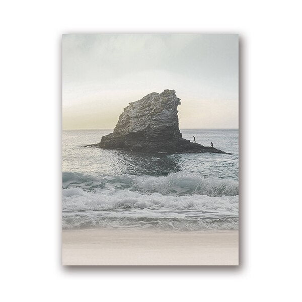 Ocean Wall Art in Beach Photography Canvas Posters Prints Sea Landscape Painting Pictures Home Wall Art Coastal Decor