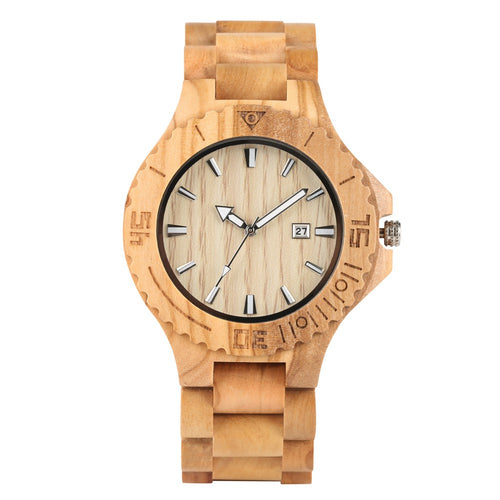 Handmade Wooden Watch for Men, Supper Light Quartz Wooden Watch for Teenagers, Classical Wooden Watches with Calendar for Boys