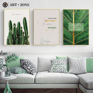 ART ZONE Green Cactus Art Poster Plant Leaves Minimalist Wall Art Canvas Painting Living Room Bedroom Home Decor Painting