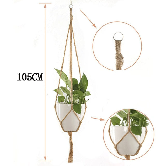 1pc handmade macrame plant hanger Horticultural Greening Flowers Pot Hanging Basket Net wall Balcony countyard garden decoration