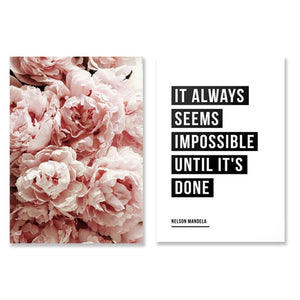 Peonies Flower Wall Art Botanical Posters and Prints Cactus Wall Decor Canvas Painting It Always Seems Impossible Quote Picture