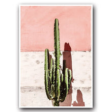 Load image into Gallery viewer, Pink Cactus Green Plant Flower Creative English Canvas Painting Art Abstract Print Poster Picture Wall Nordic Home Decoration