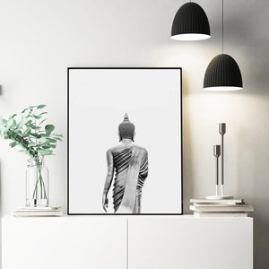 Buddha Wall Art Canvas Painting Modern Boho Decor Black and White Buddha Statue Vertical Yoga Poster and Print Wall Picture