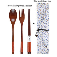 Load image into Gallery viewer, Baispo Portable Tableware Wooden Cutlery Sets with Useful Spoon Fork Chopsticks Travel Gift Dinnerware Suit with Cloth bag